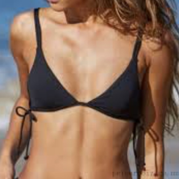 000a5740172c8 LA HEARTS Ribbed Lace-Up Fixed Triangle Bikini Top